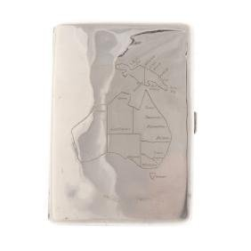Sterling cigarette case with map of Australia