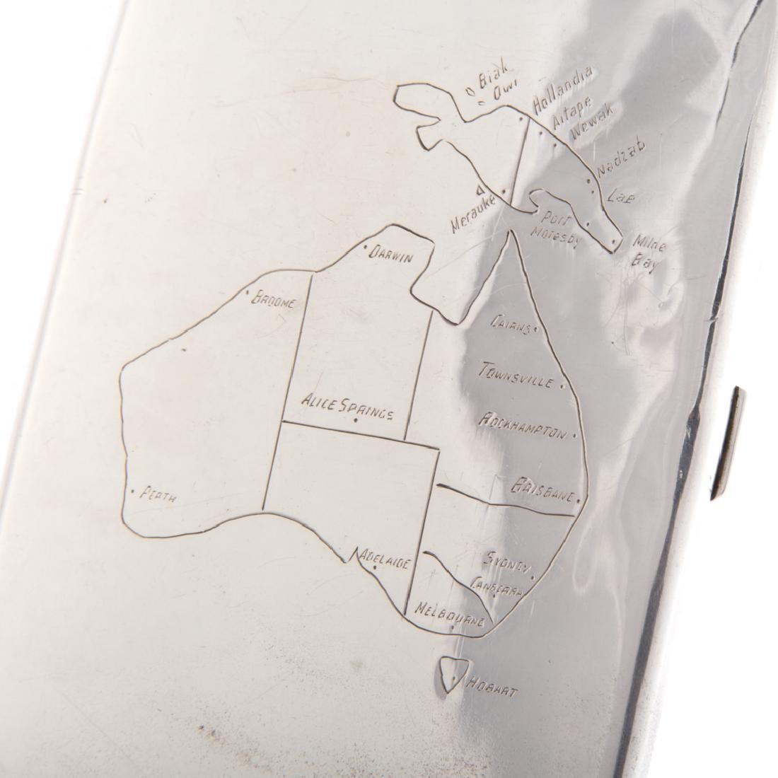 Sterling cigarette case with map of Australia - 2