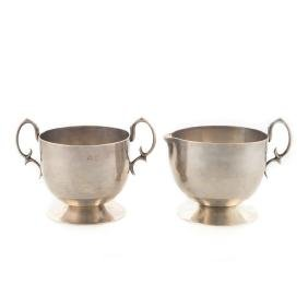 Neo-Grec style Mexican sterling creamer & sugar