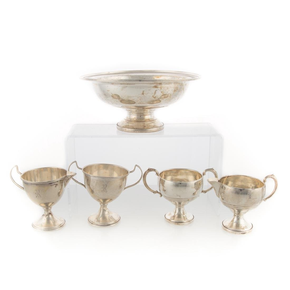 Group of weighted sterling silver table articles