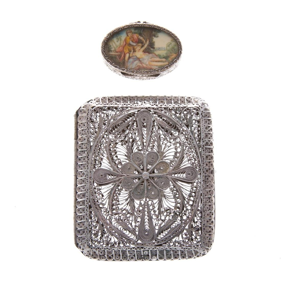 Italian gilt silver and hand painted pill box