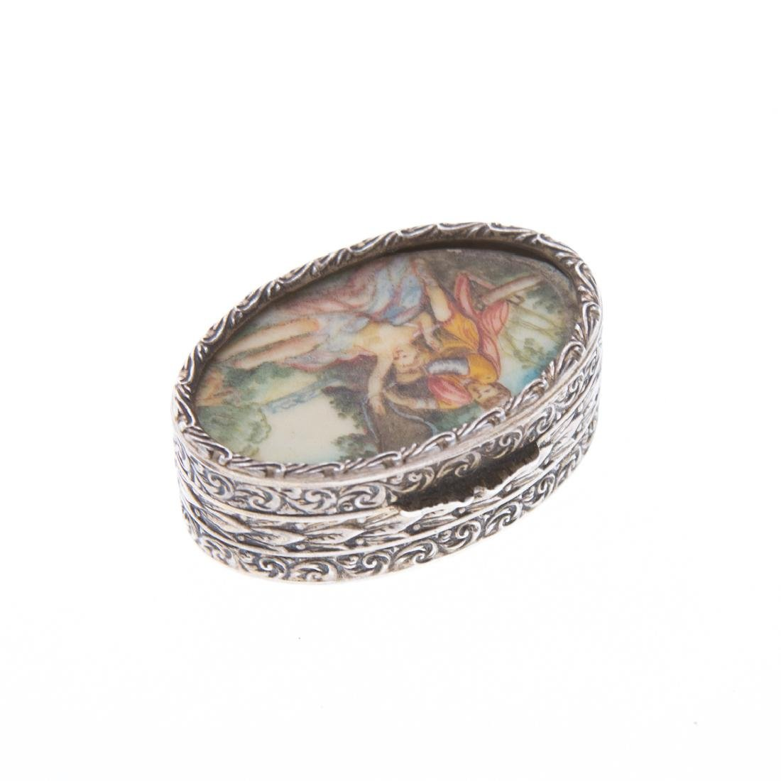 Italian gilt silver and hand painted pill box - 2