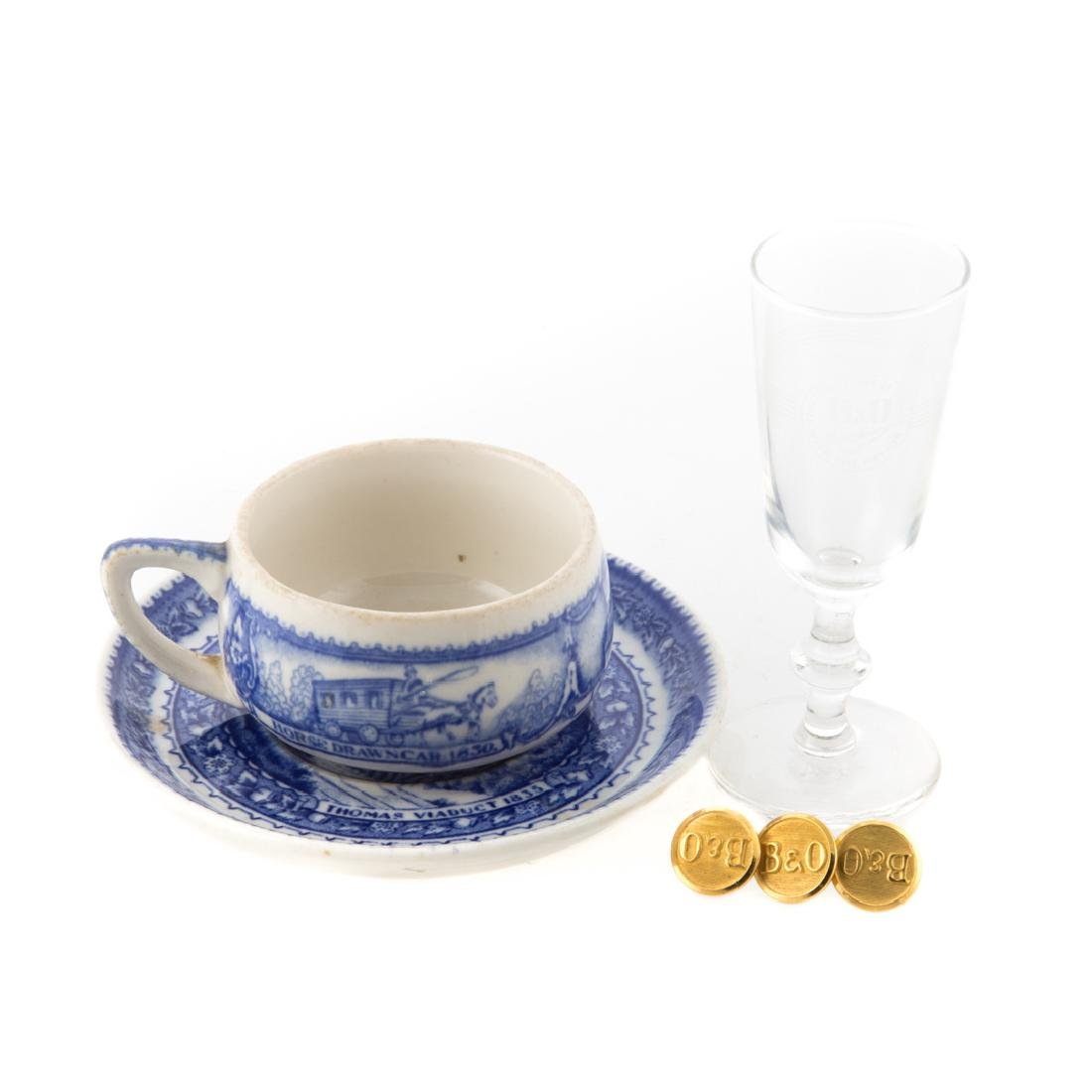 Lamberton B & O cup and saucer & 3 brass buttons