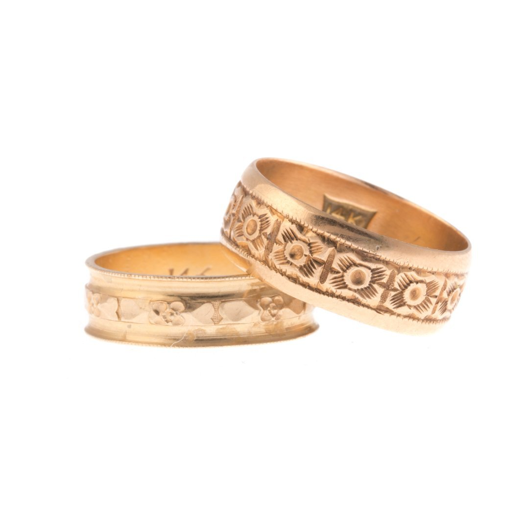 Two Engraved Wedding Bands in 14K Gold