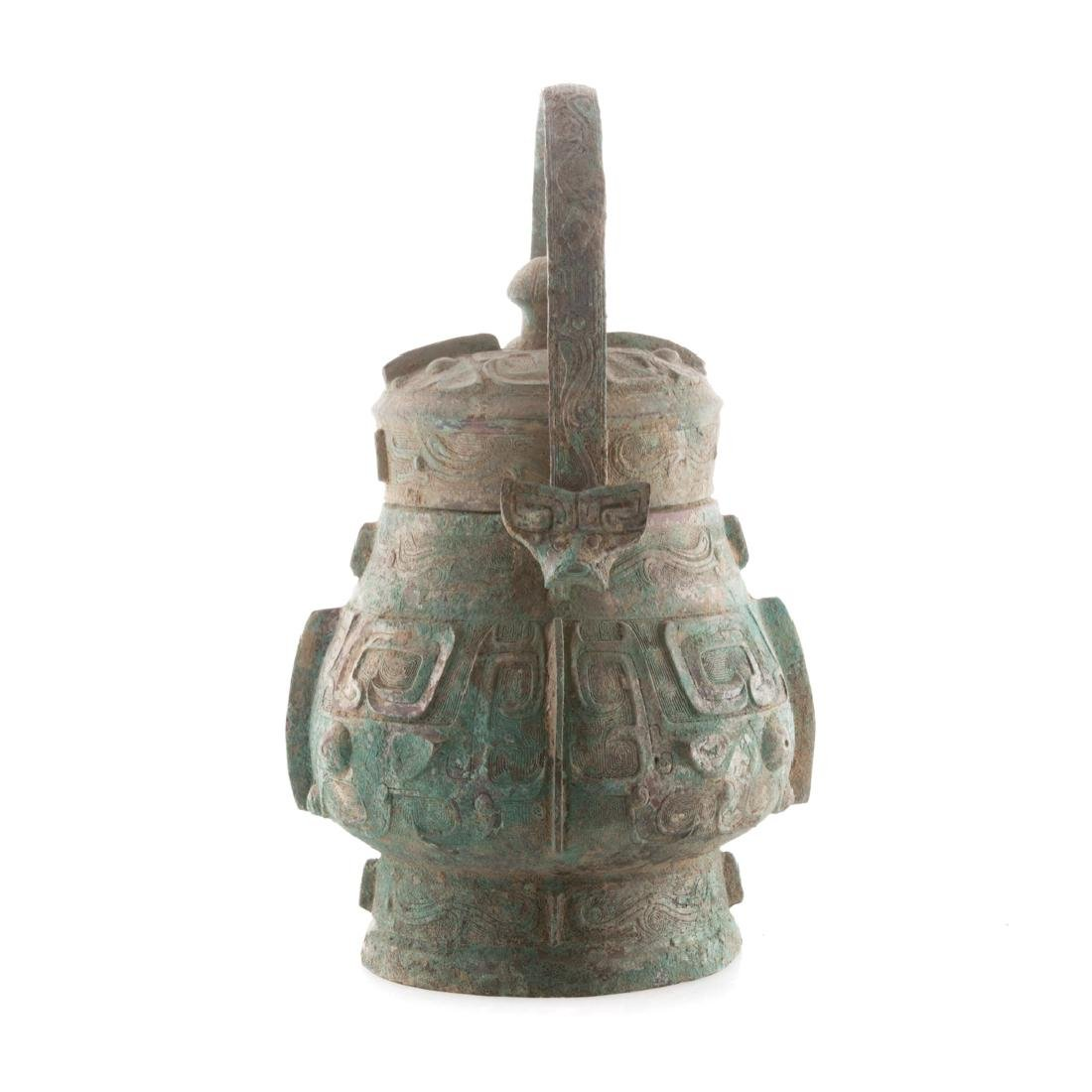 Chinese Chou style bronze vessel with handle - 2