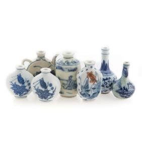 Seven Chinese porcelain snuff bottles & miniatures