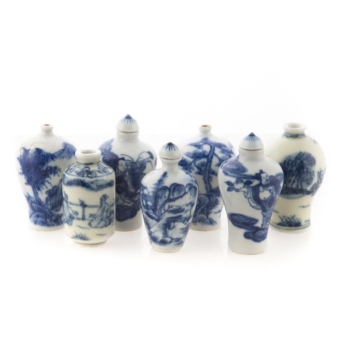 Seven Chinese porcelain snuff bottles