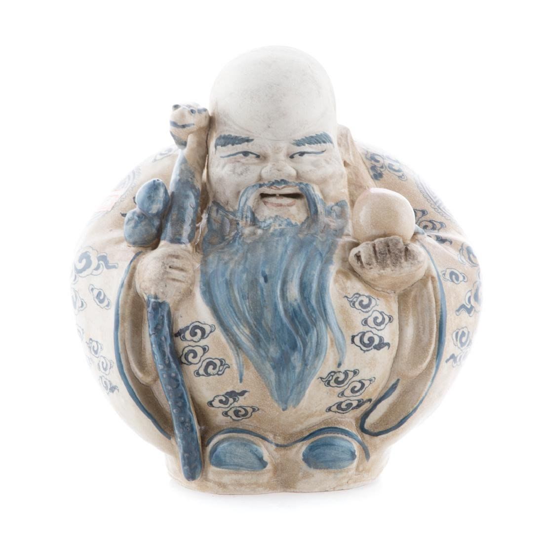 Chinese blue and white deity figure