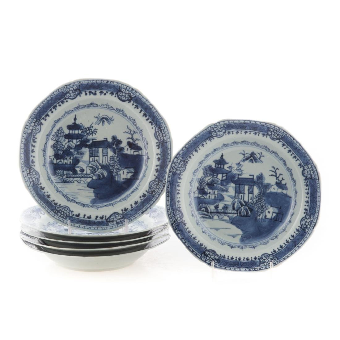 Six Chinese Export blue and white soup bowls