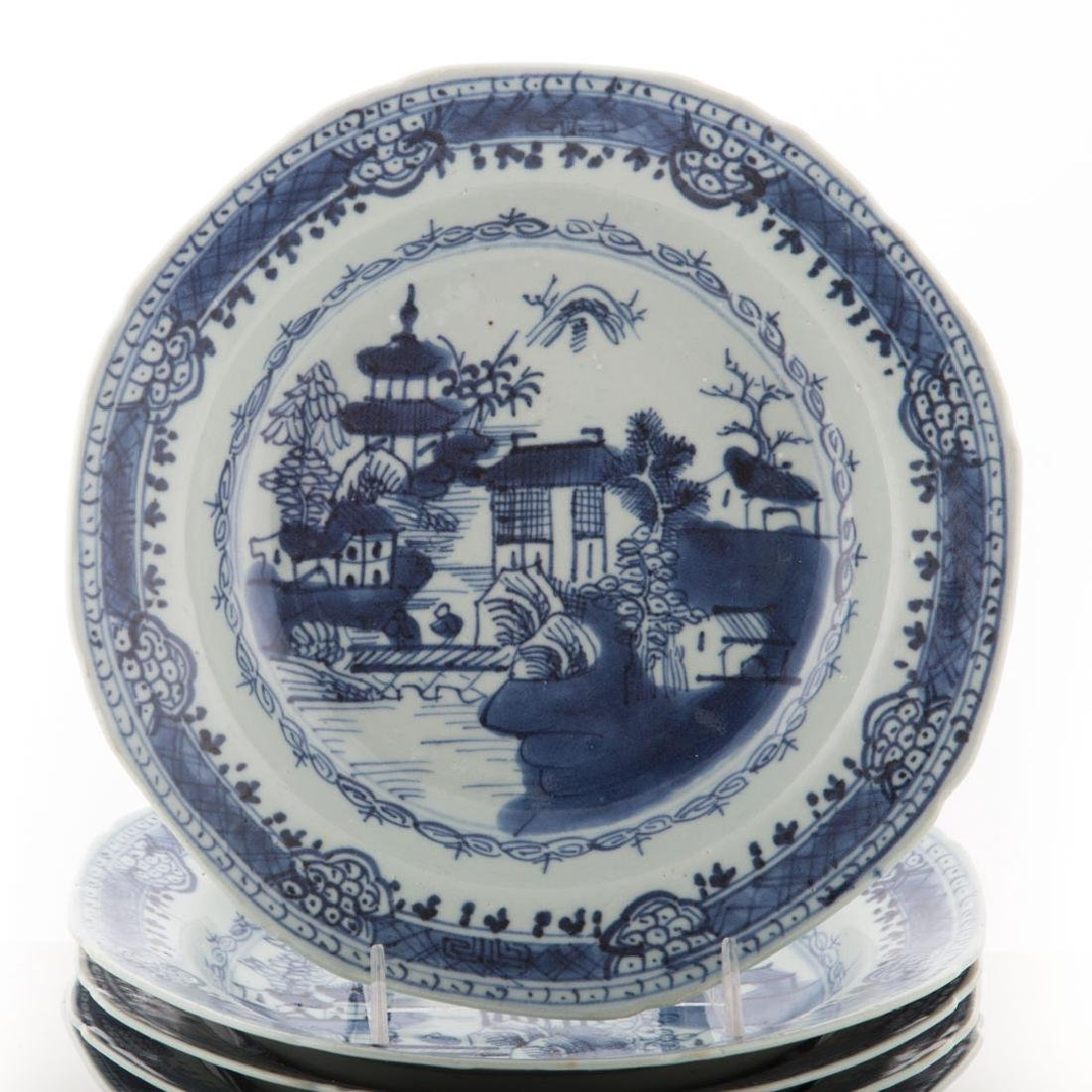 Six Chinese Export blue and white soup bowls - 2