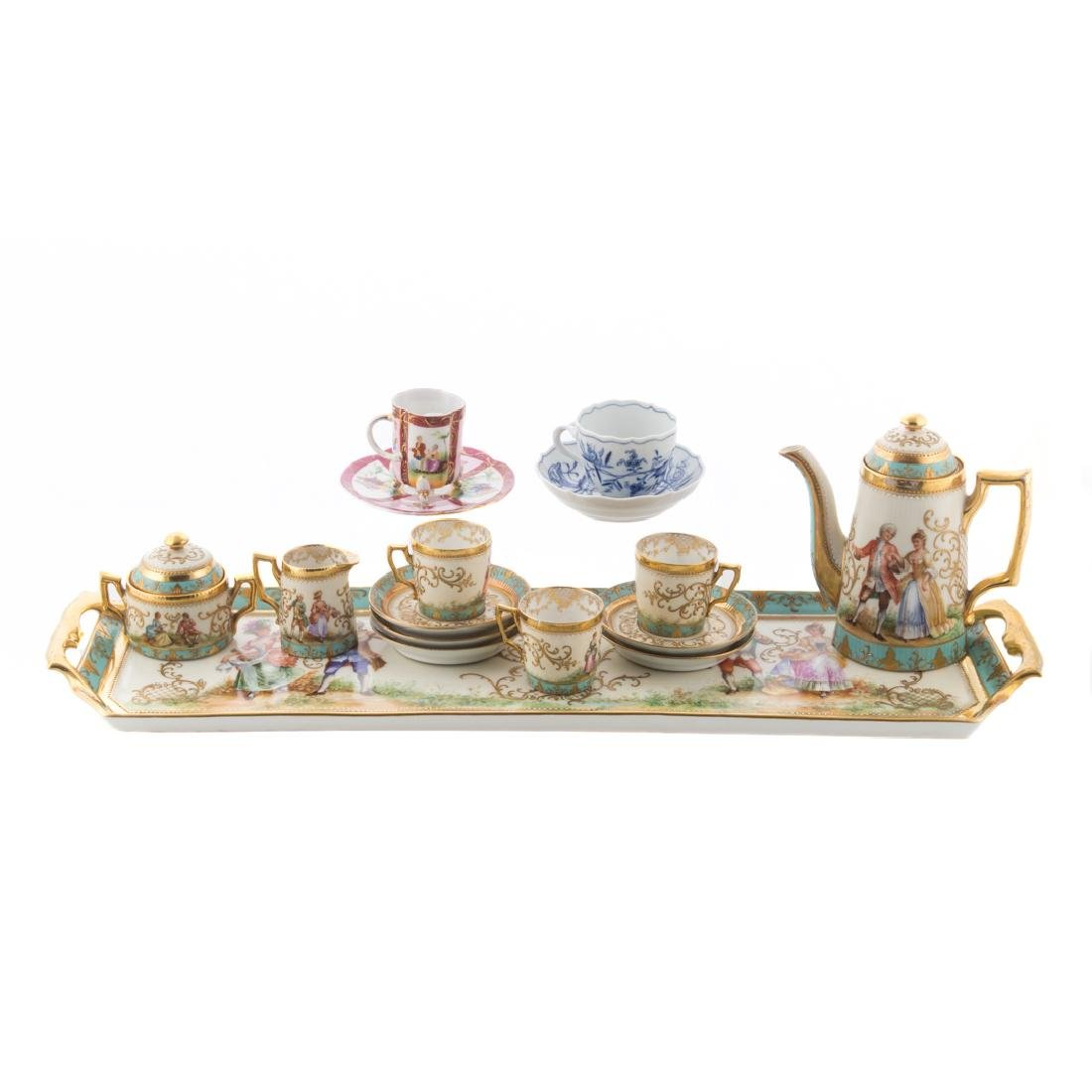 Dresden porcelain partial tea service