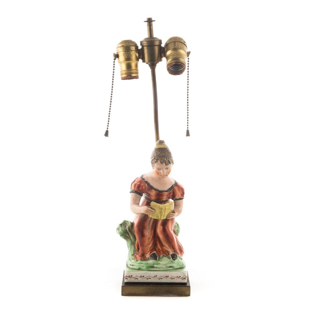 Staffordshire pearlware figural lamp