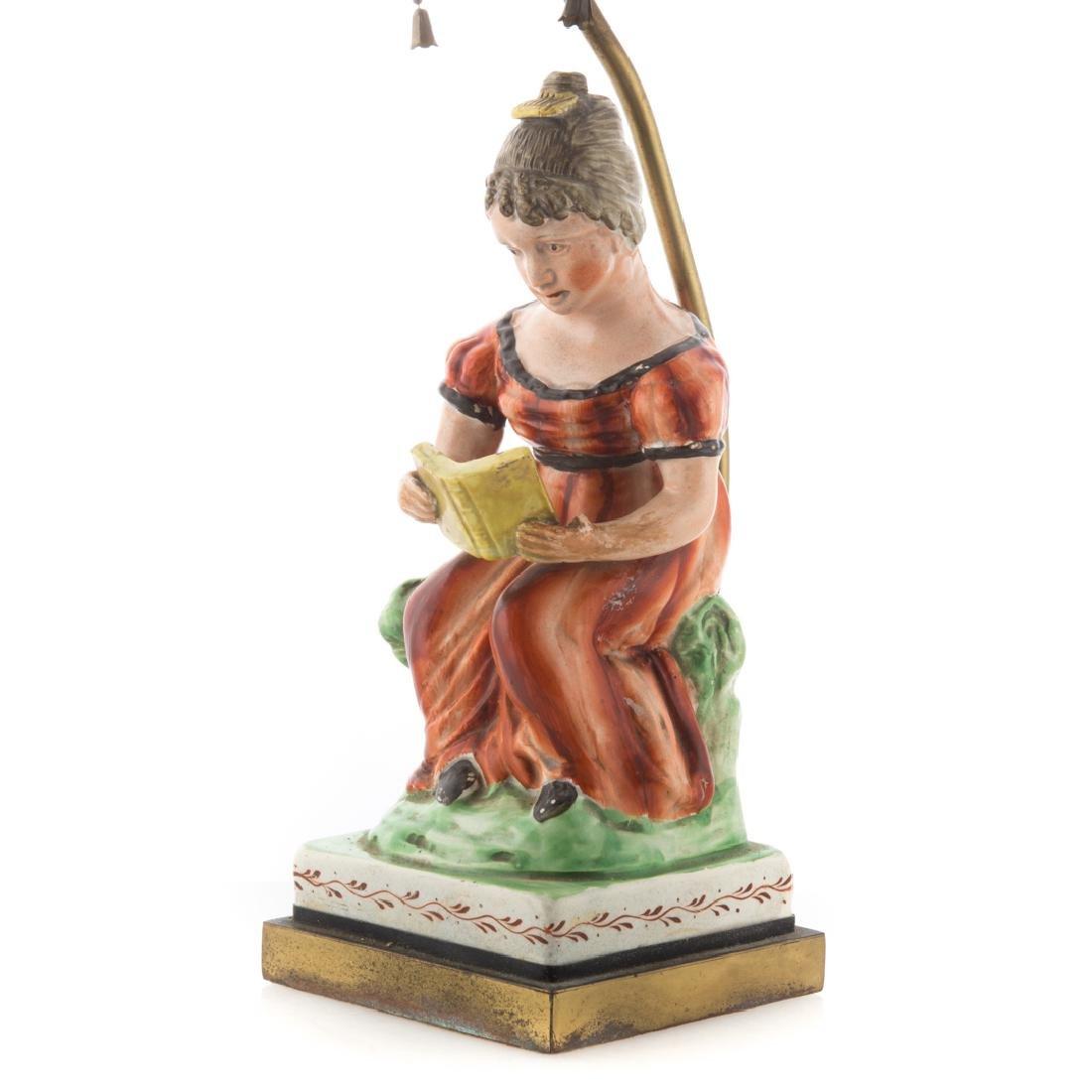 Staffordshire pearlware figural lamp - 2