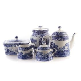 Five Spode blue transfer china tableware articles