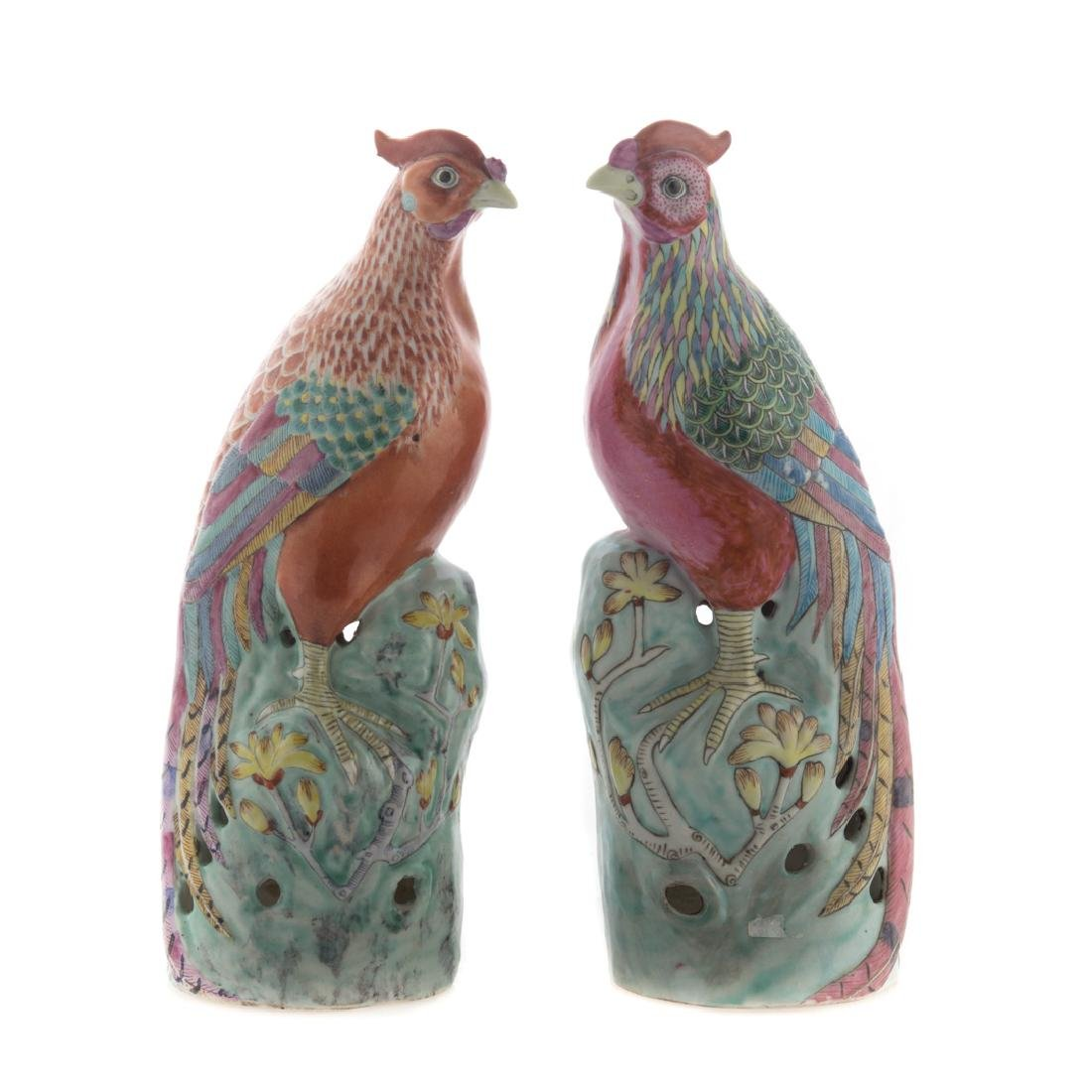 Two Chinese Export porcelain pheasants