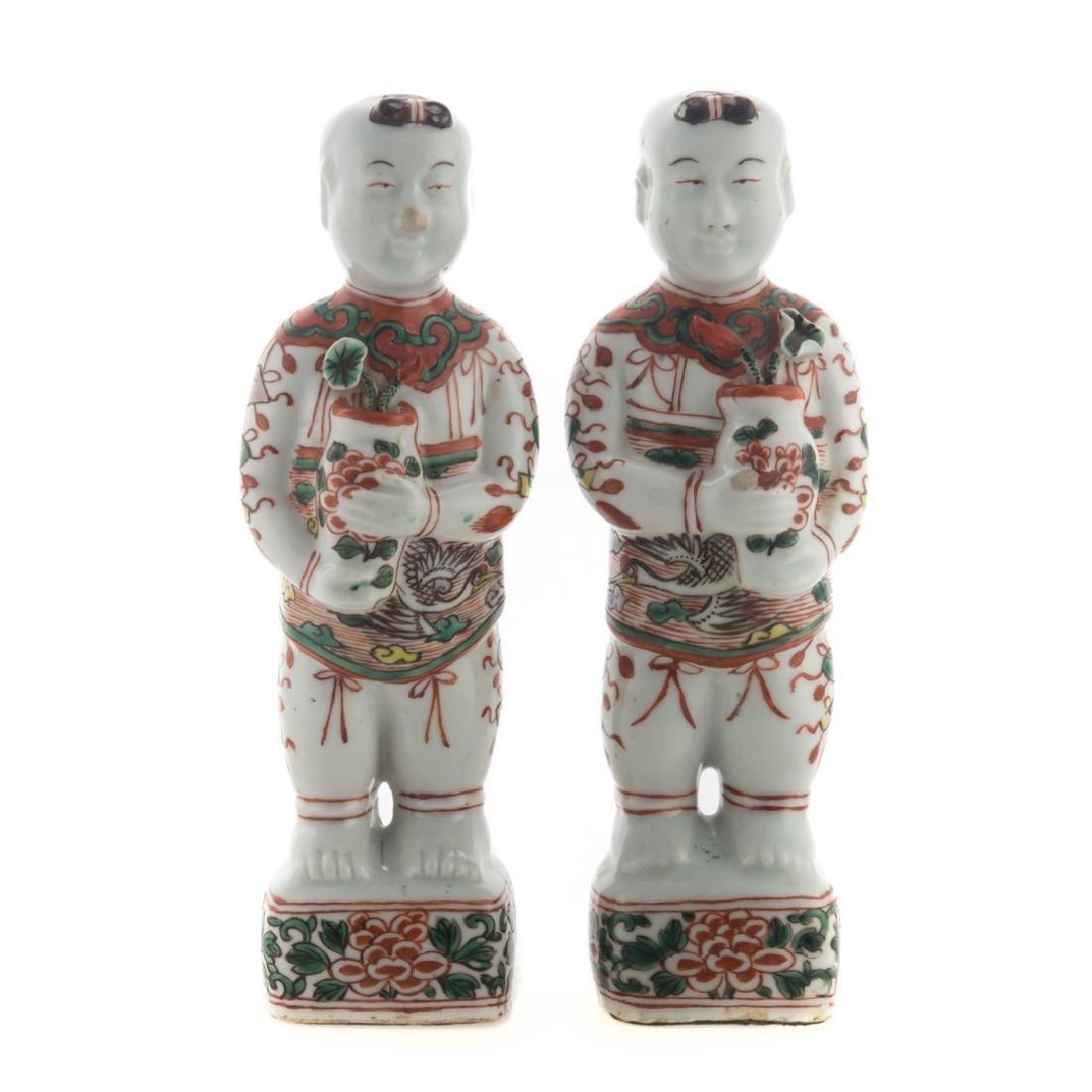 Pair Chinese Export Famille Verte Ho-Ho boys
