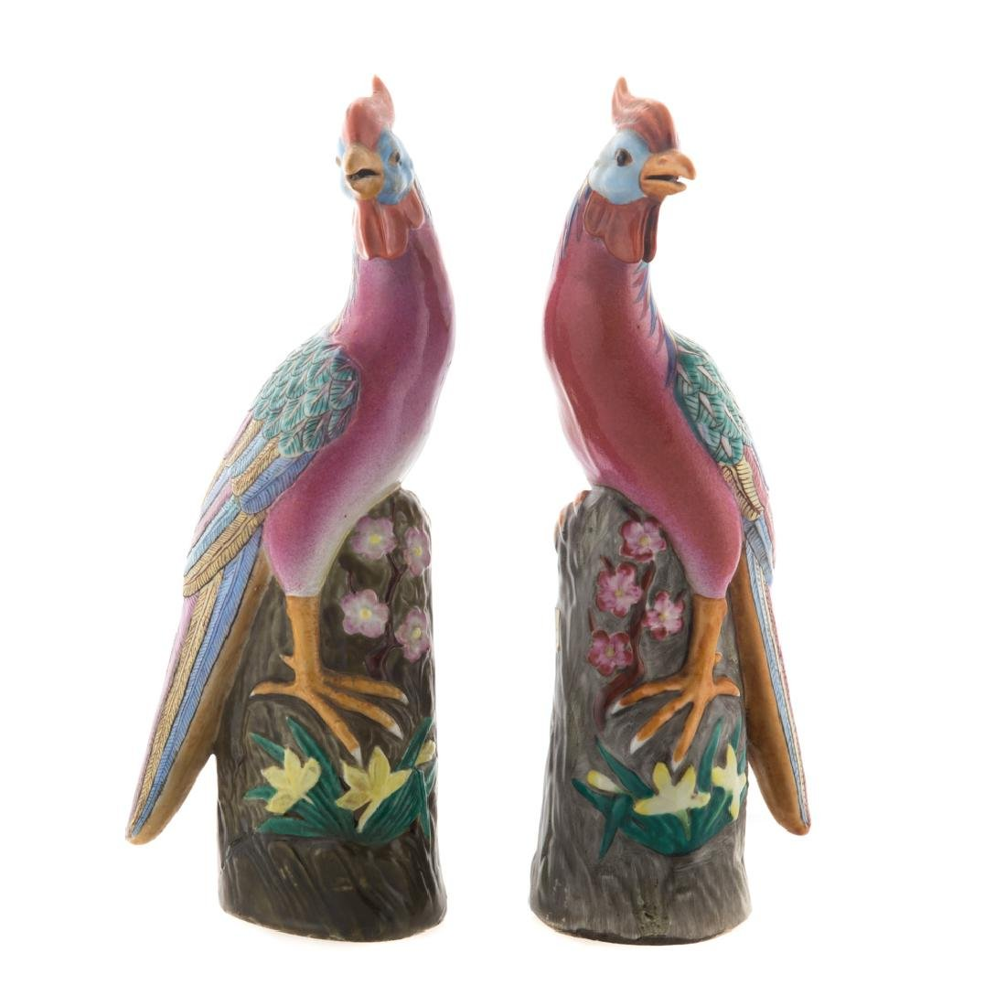 Pair Chinese Export Famille Rose pheasants