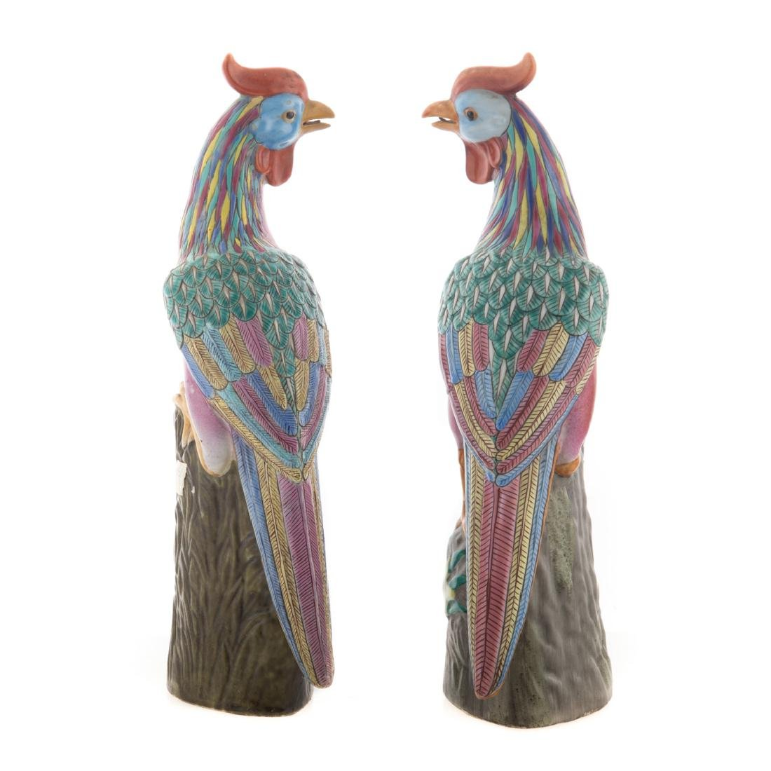 Pair Chinese Export Famille Rose pheasants - 2