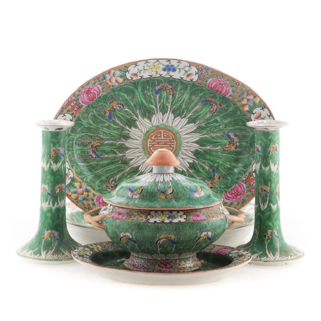 Six Chinese Export Cabbage Leaf table articles