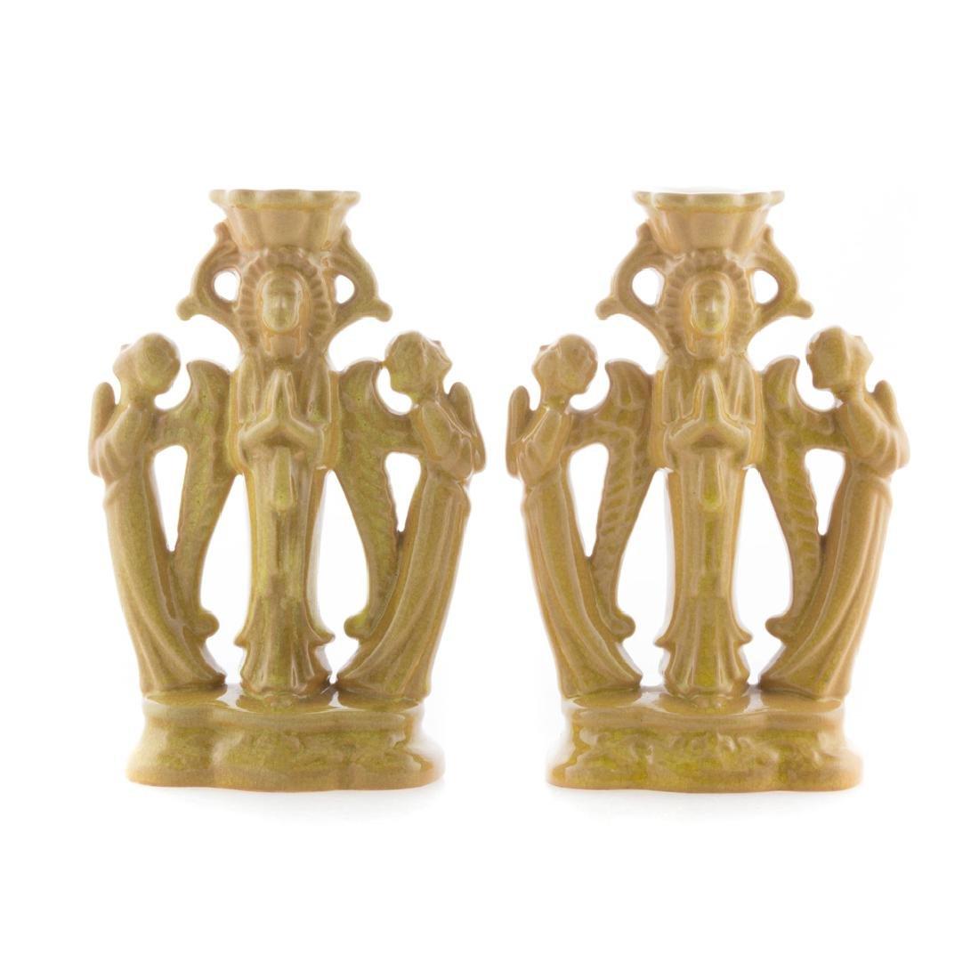 Pair Cowan Pottery Byzantine candlesticks