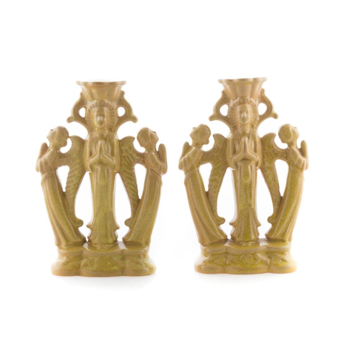Pair Cowan Pottery Byzantine candlesticks - 3