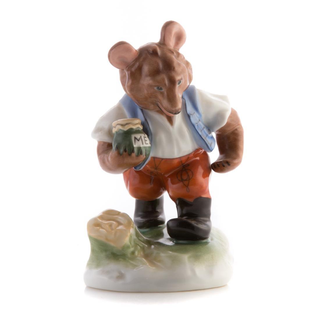 Herend porcelain bear with honey pot