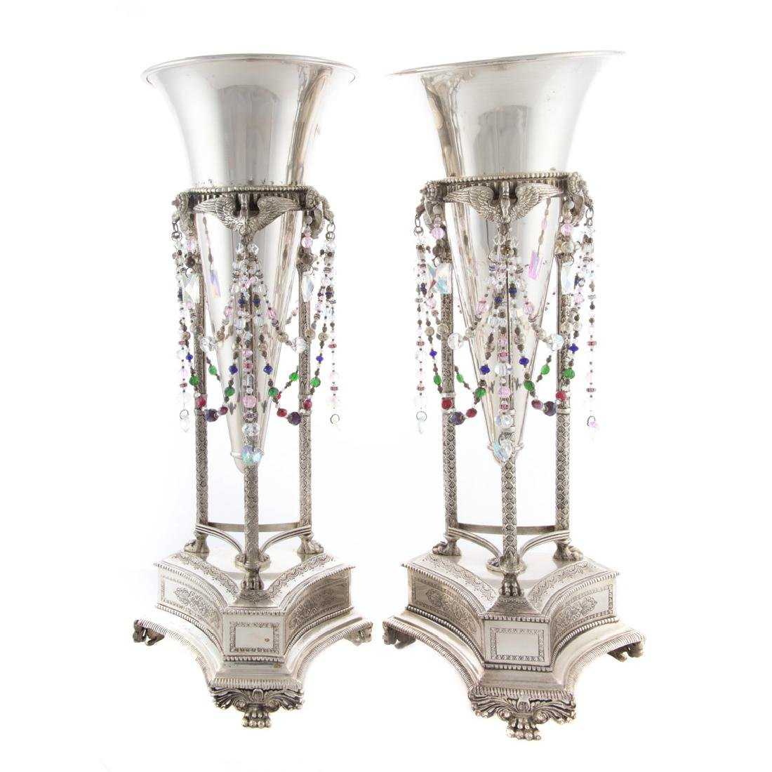 Pair Empire style silver plated trumpet vases