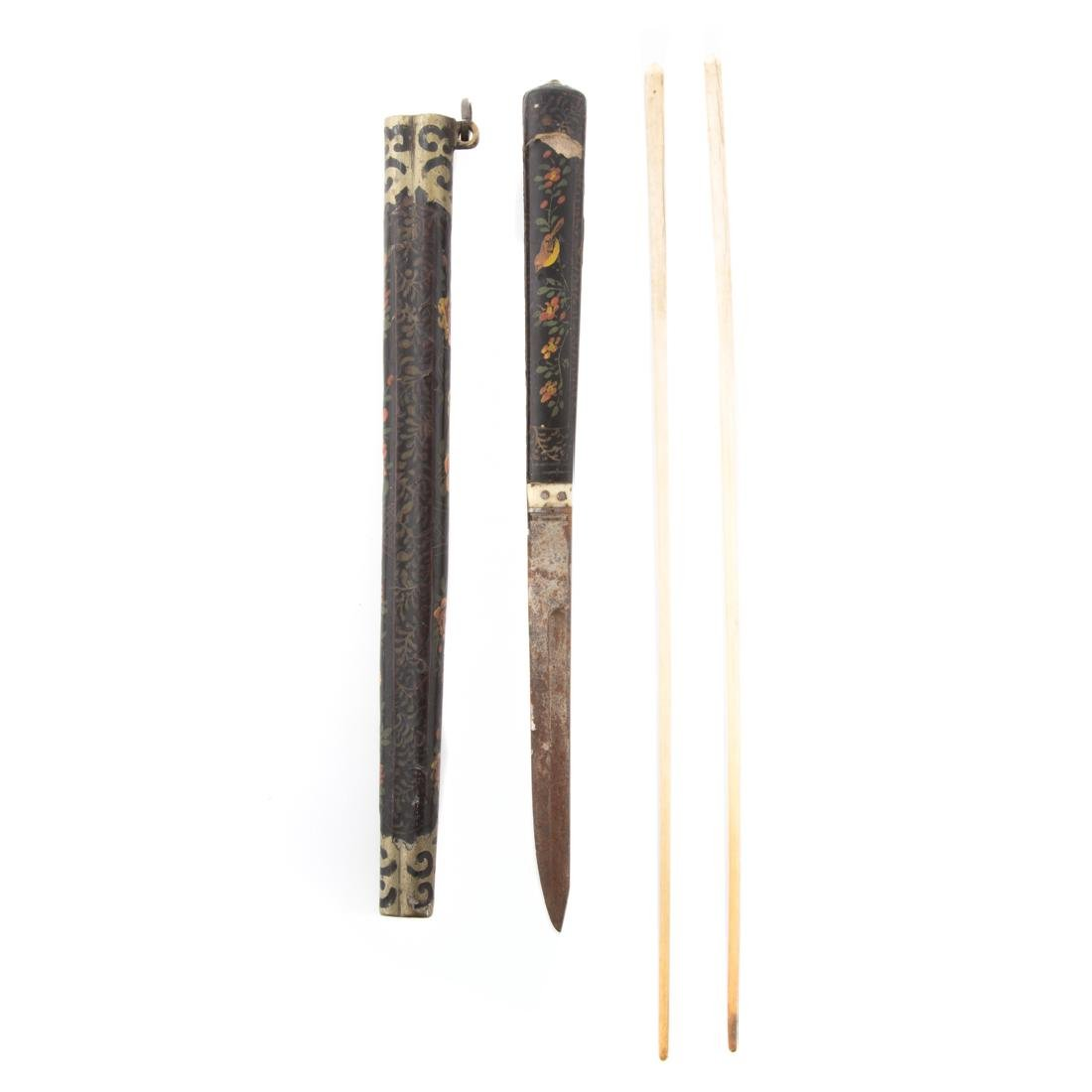 Two Chinese travel chopstick and knife sets - 2