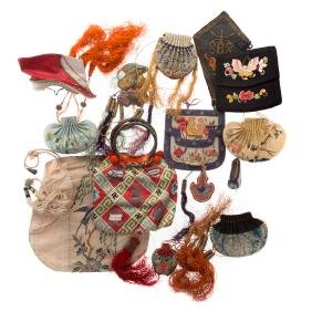 Collection Chinese silk embroidered pouches
