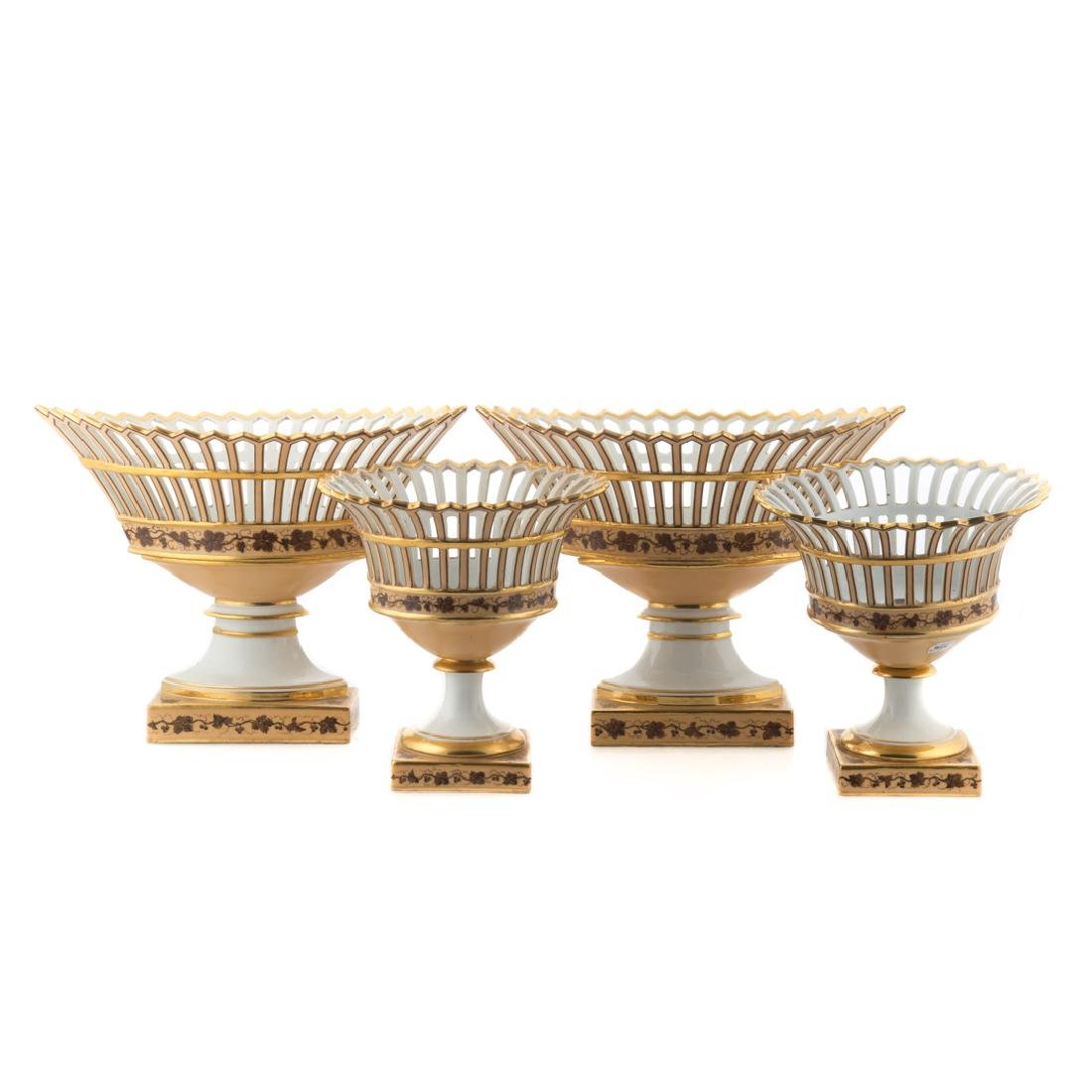 4 Pochet D' a Paris porcelain fruit baskets