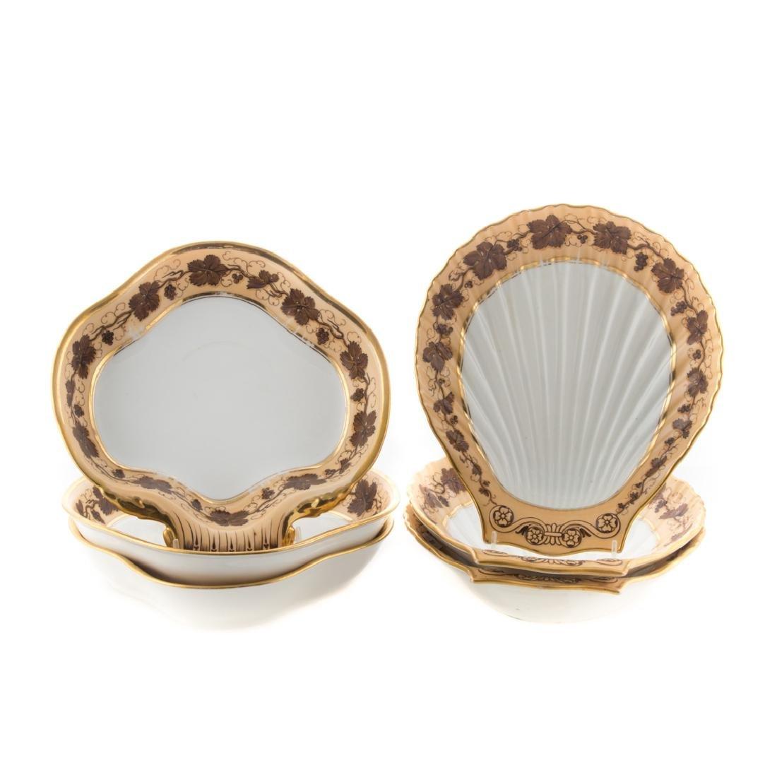 Six Pochet D' a Paris porcelain serving dishes
