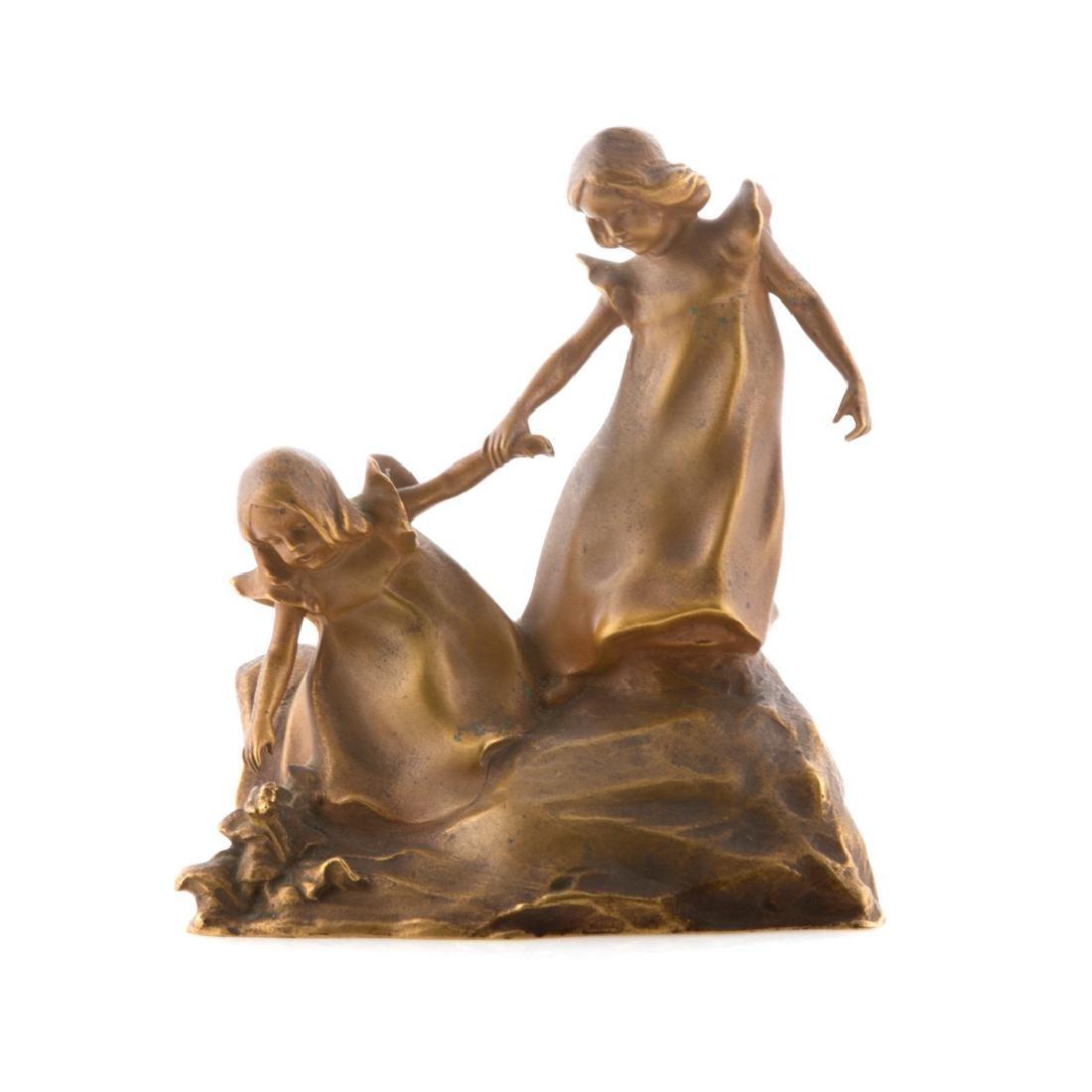 Franz Gruber. Two little girls, gilt bronze