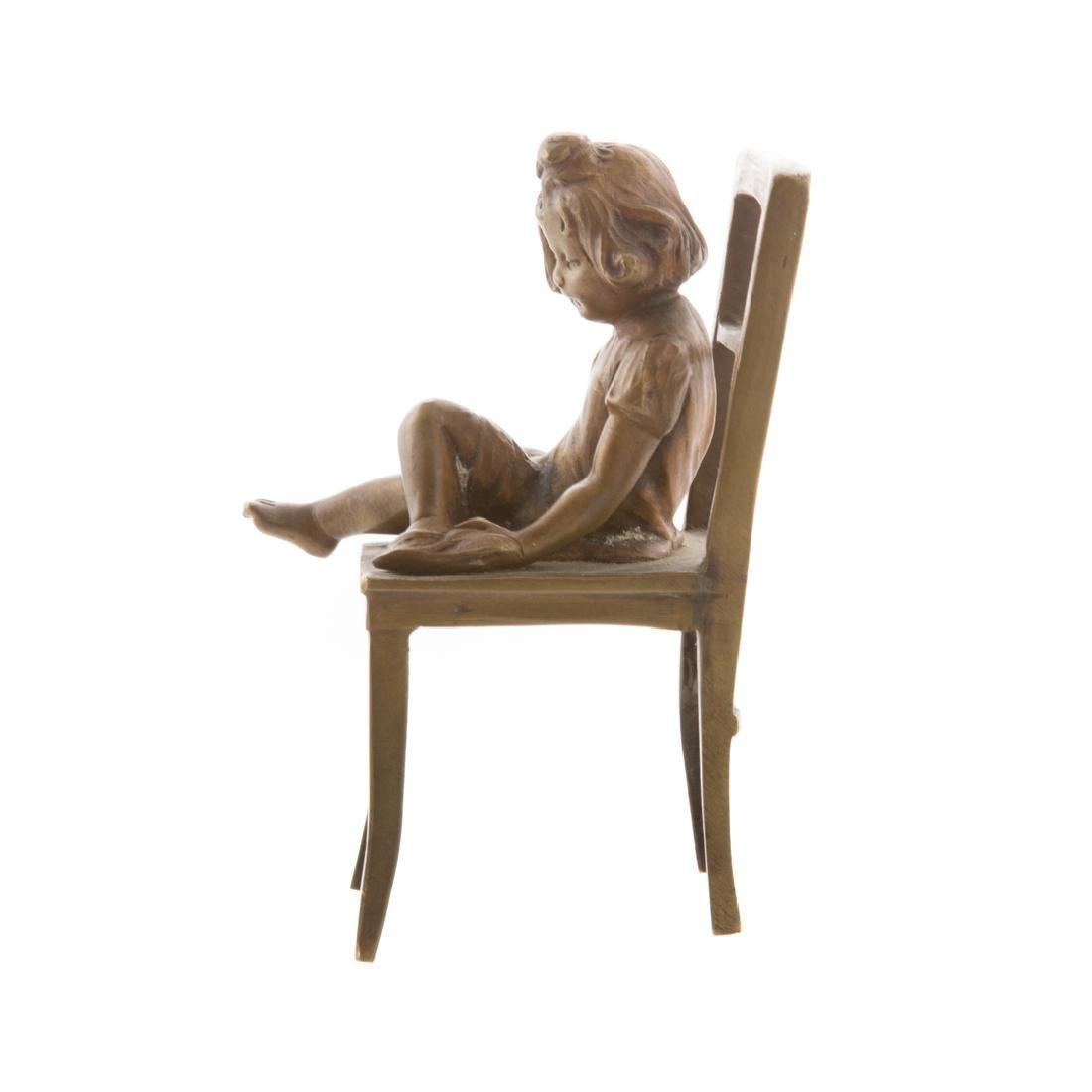 Austrian bronze little girl in chair - 2