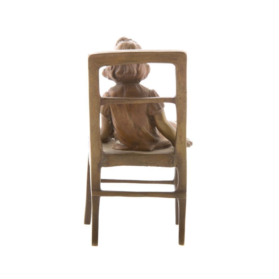 Austrian bronze little girl in chair - 3