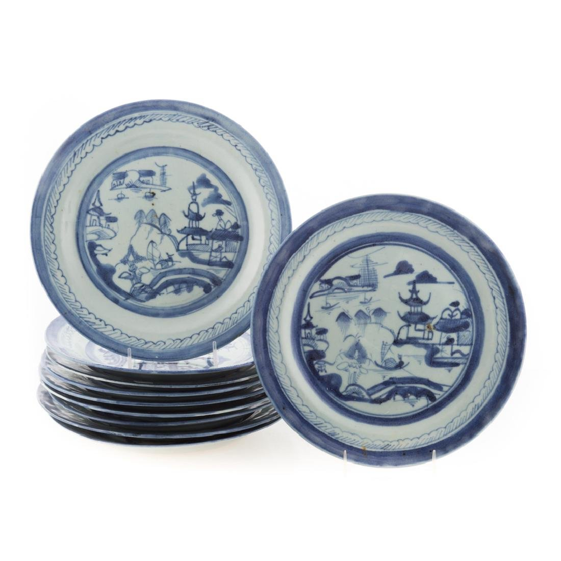 10 Chinese Export Canton dinner plates