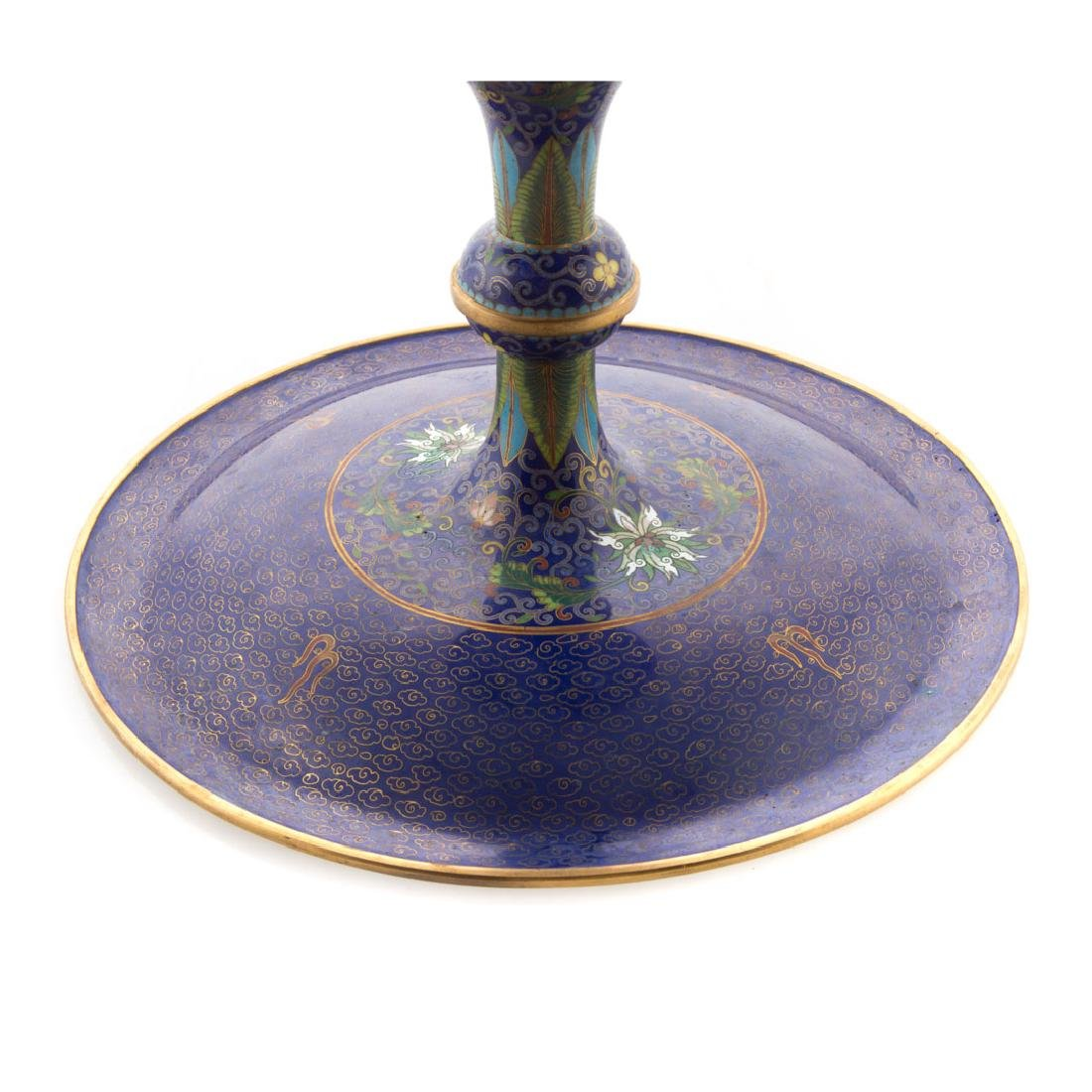 Chinese cloisonne enamel compote - 5
