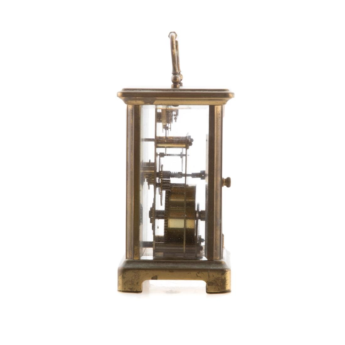 French brass and glass carriage clock - 2