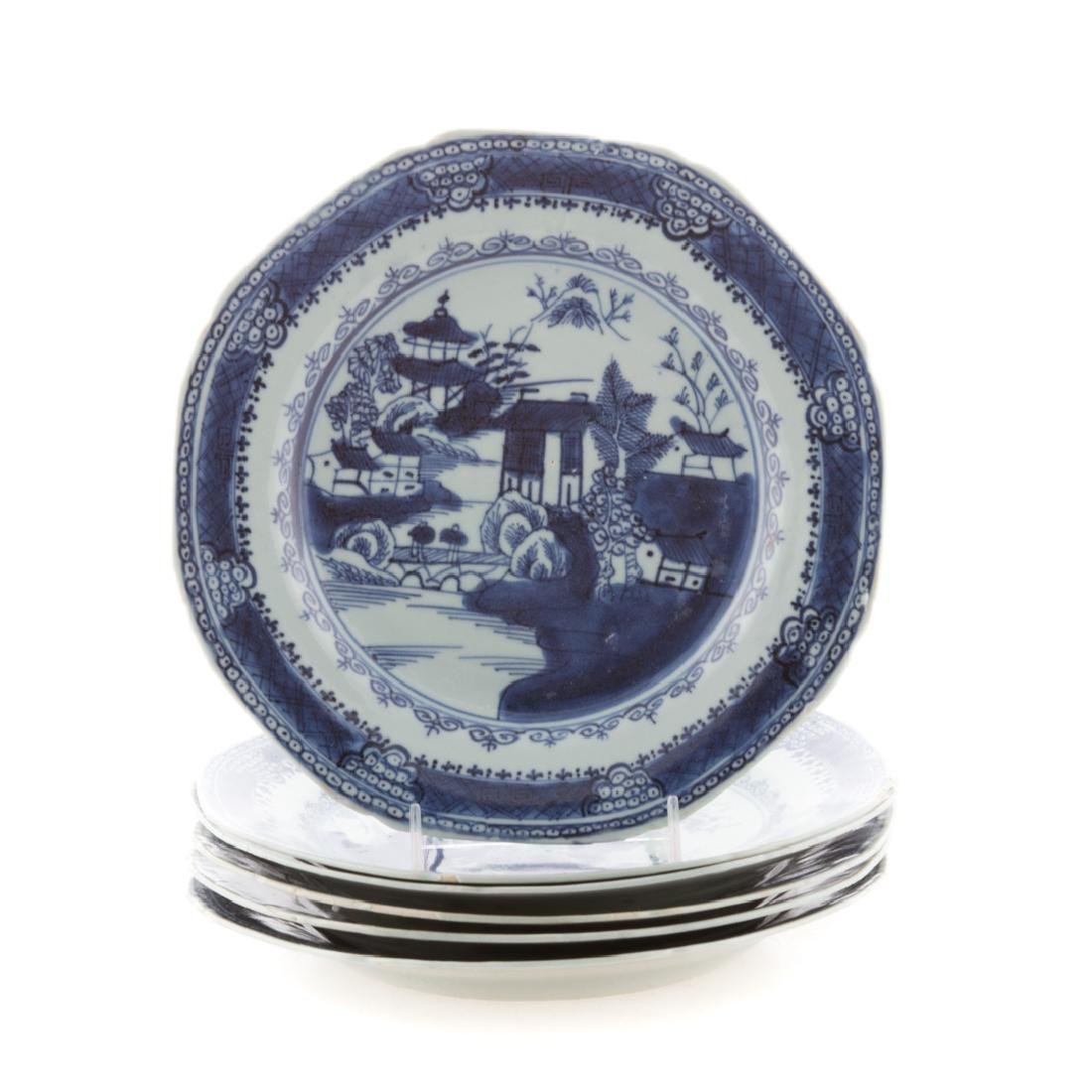 Six Chinese Export blue and white plates