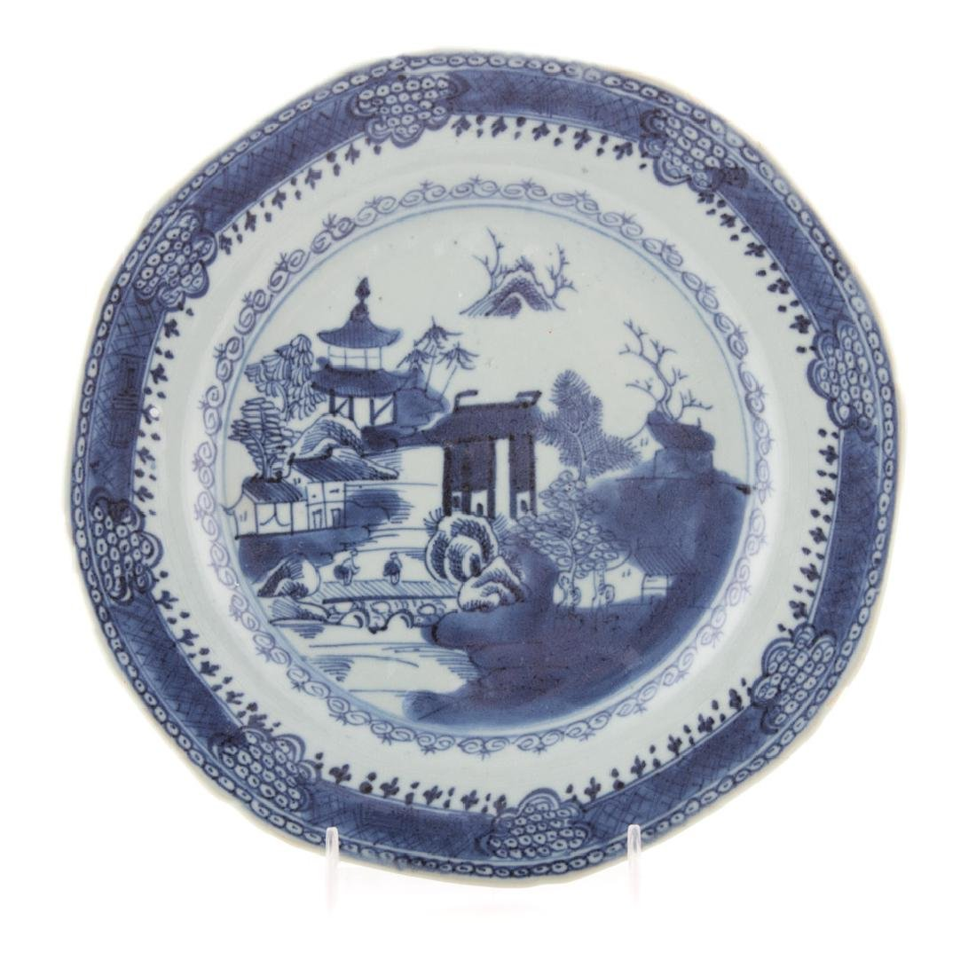 Six Chinese Export blue and white plates - 3