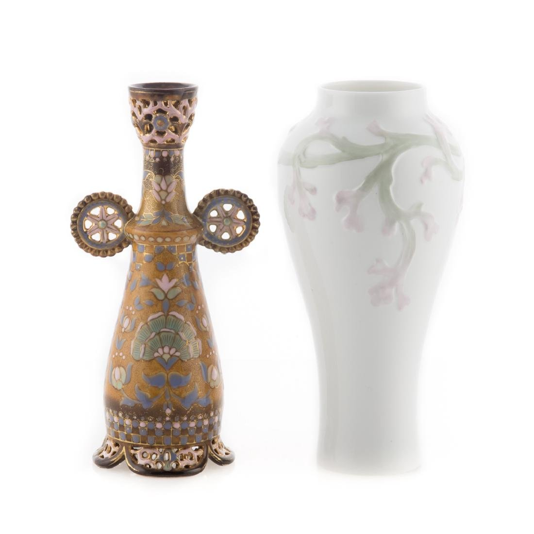 Zsolnay vase and Rorstrand porcelain vase
