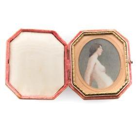 American School 20th c. Miniature nude portrait