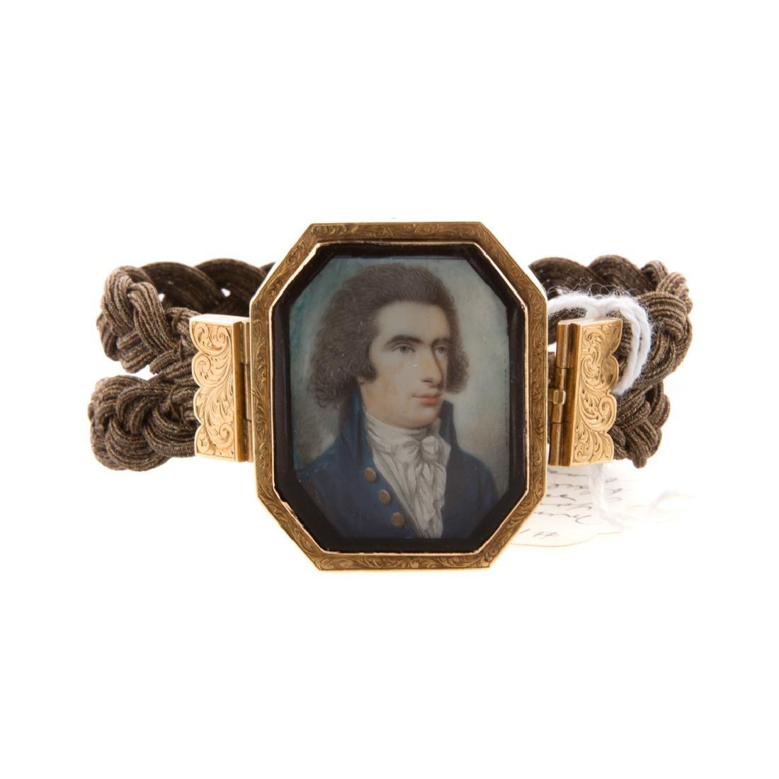 American School 18th century. Miniature portrait