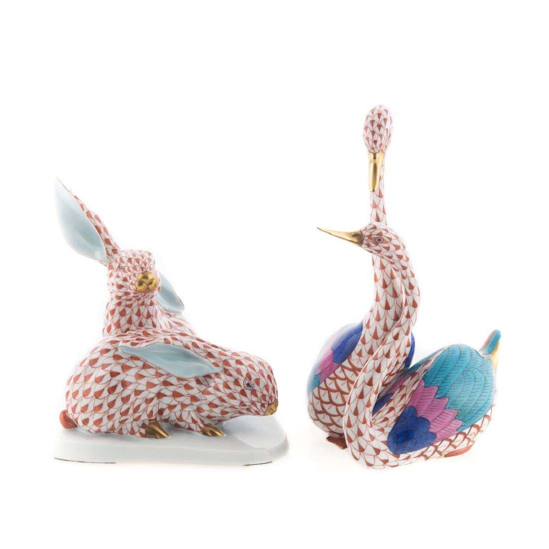 Two Herend porcelain animal groups