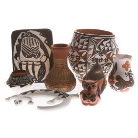 Eight Acoma and Navajo pottery miniatures