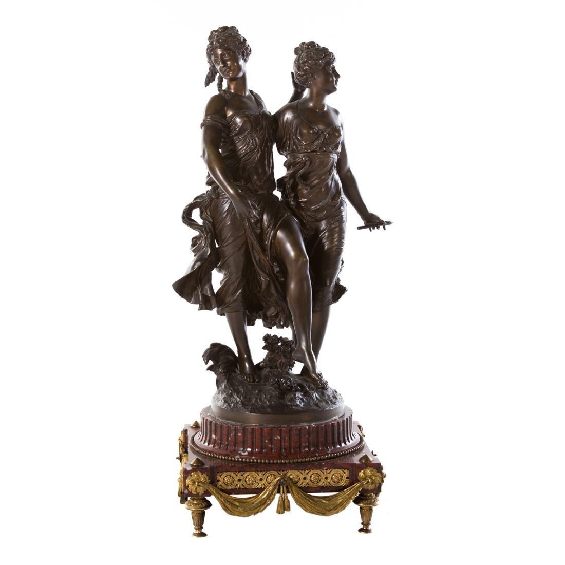 Jean Jules Salmson. Two Dancers, bronze