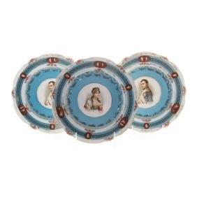 3 Austrian Napoleonic portrait porcelain plates