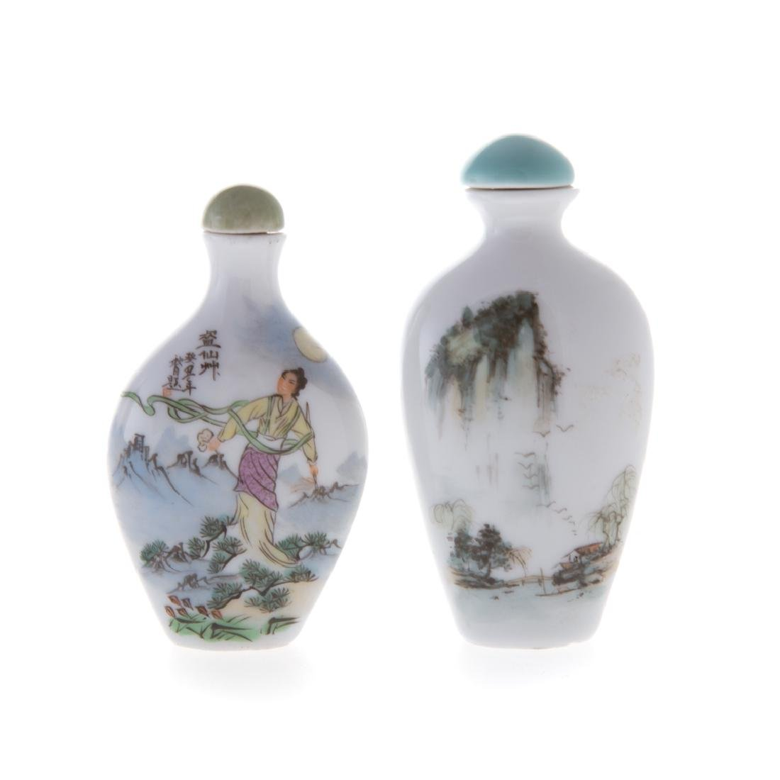 Seven Chinese glass and porcelain snuff bottles - 3