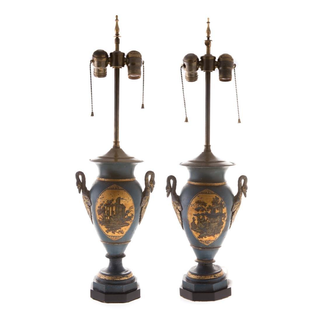 Pair Victorian toleware vases