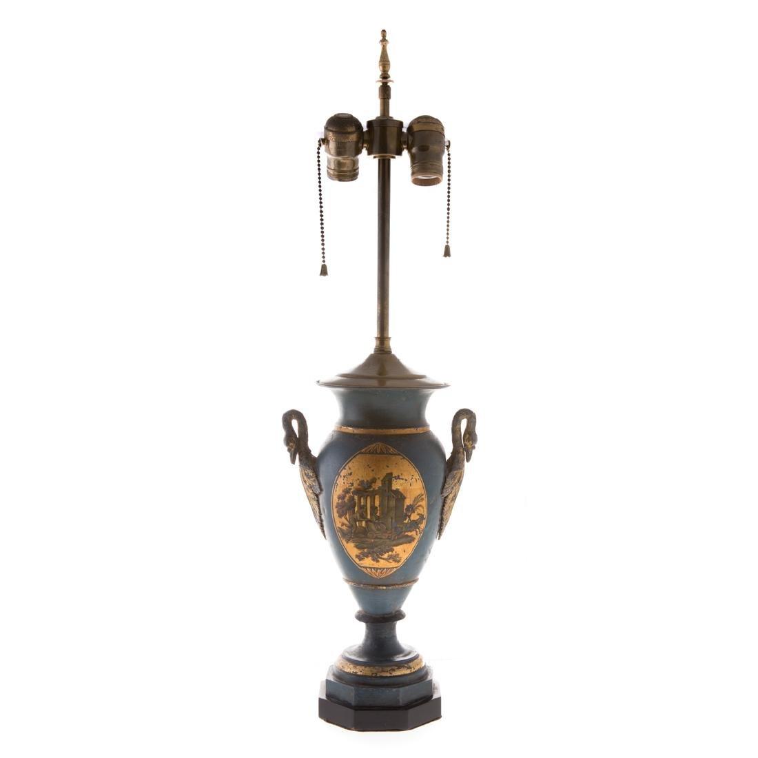 Pair Victorian toleware vases - 2