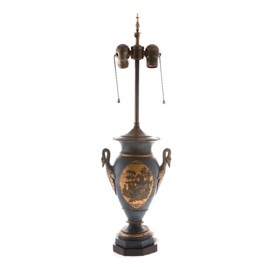 Pair Victorian toleware vases - 3